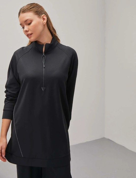 KAYRA - Biyeli Fermuar Detaylı Sweatshirt-Siyah