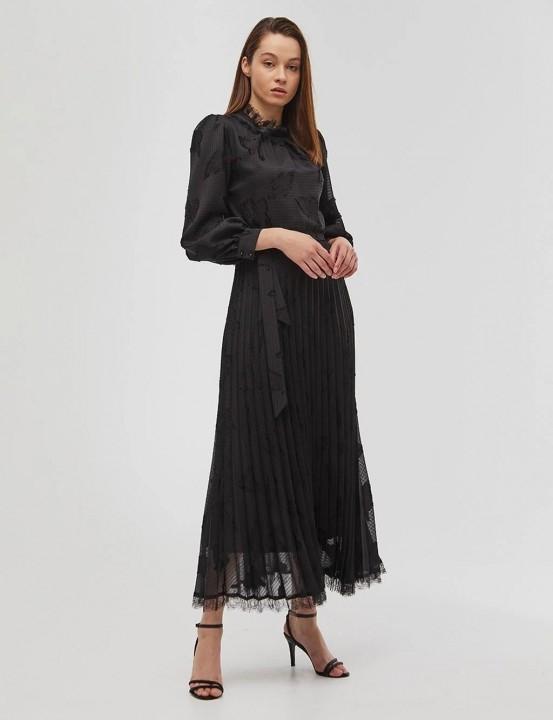 KAYRA - Şifon Desenli Maksi Elbise-Siyah