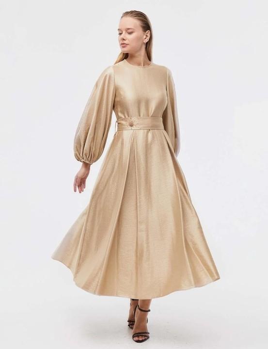 KAYRA - Kuşaklı Balon Kol Elbise-Bej
