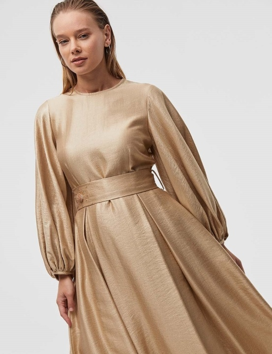 Kuşaklı Balon Kol Elbise-Bej