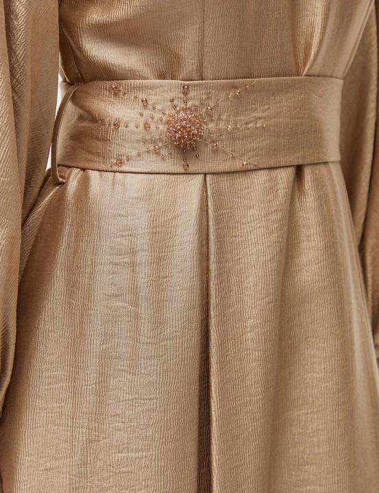 Kuşaklı Balon Kol Elbise-Bej - Thumbnail