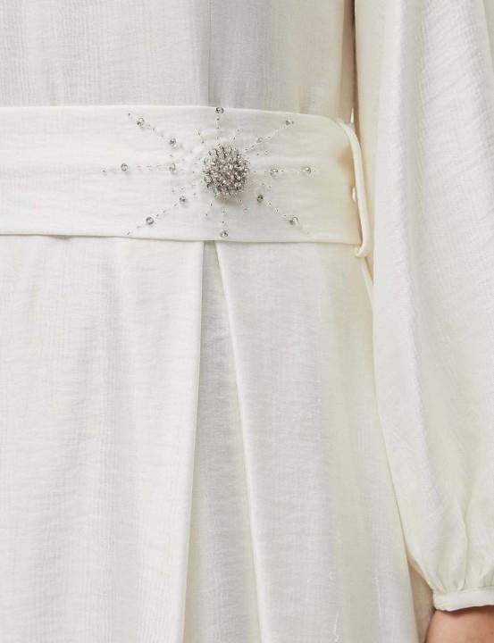 Kuşaklı Balon Kol Elbise-Ekru - Thumbnail