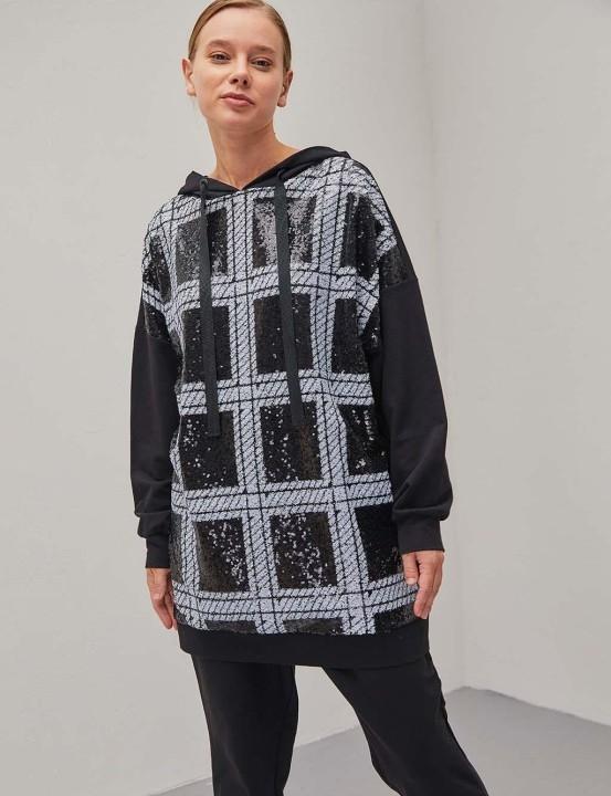 KAYRA - Pul Payet Desenli Sweatshirt-Siyah