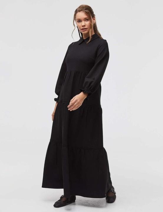 KAYRA - Balon Kol Maksi Elbise-Siyah