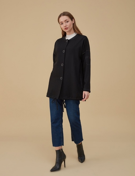 Keçe Bomber Ceket-Siyah