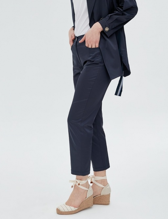 Parlak Kumaş Pantolon-Lacivert