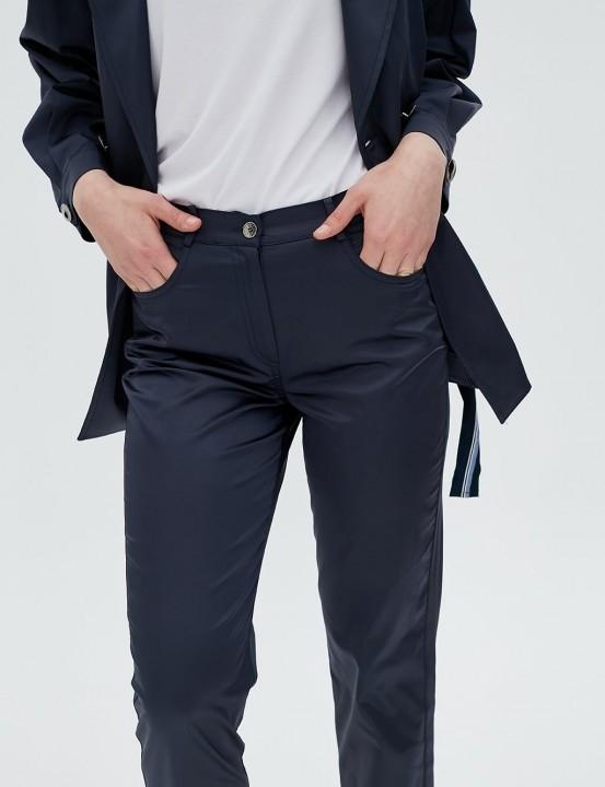 Parlak Kumaş Pantolon-Lacivert - Thumbnail