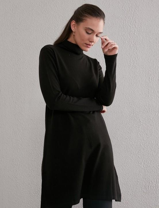 KAYRA - Balıkçı Yaka Basic Triko Tunik-Siyah