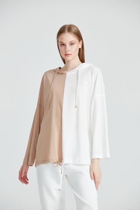 On Fashion - Kapüşonlu İki Renkli Altı Bağcıklı Bluz-Kum