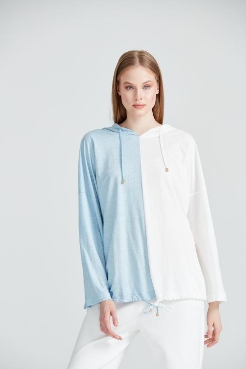 On Fashion - Kapüşonlu İki Renkli Altı Bağcıklı Bluz-Mavi