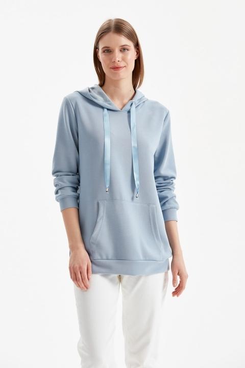 On Fashion - Kapüşonlu Kanguru Cep Sweat-Mavi