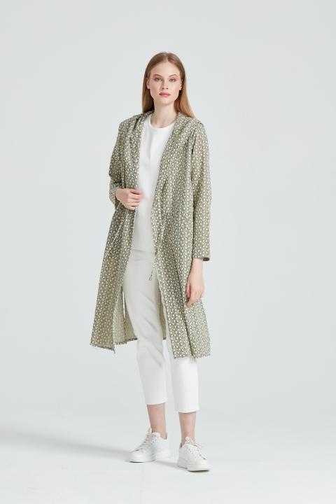 On Fashion - Kapüşonlu Nakış Kumaş Kap-Haki