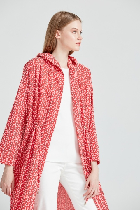 On Fashion - Kapüşonlu Nakış Kumaş Kap-Mercan