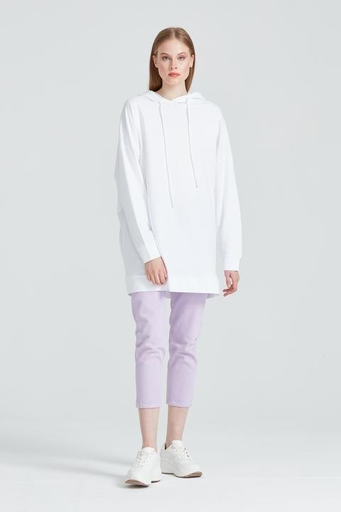 KAYRA - Kapüşonlu Oversize Sweatshirt-Ekru