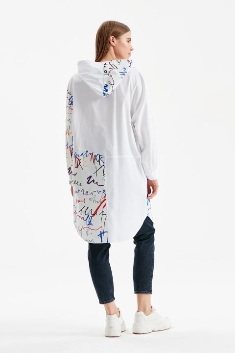 Kapüşonlu Uzun Uzun Çok Renkli Tunik-Beyaz - Thumbnail