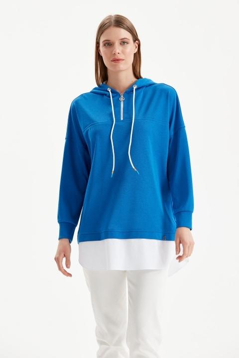 KAYRA - Katmanlı Sweatshirt-Mavi