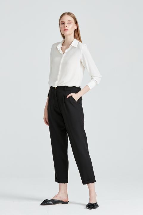 KAYRA - Kemik Düğmeli Kumaş Pantolon -Siyah