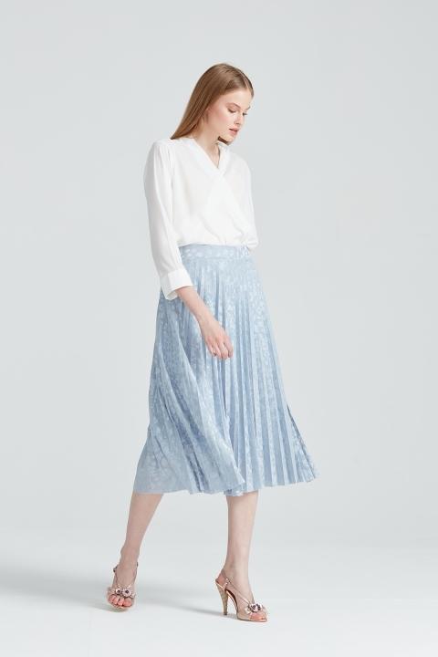 On Fashion - Kendinden Desenli Etek-Mavi