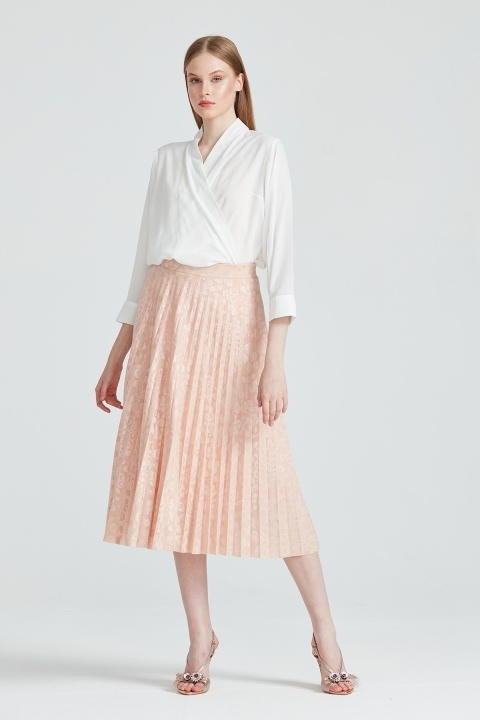 On Fashion - Kendinden Desenli Etek-Pudra Pembe