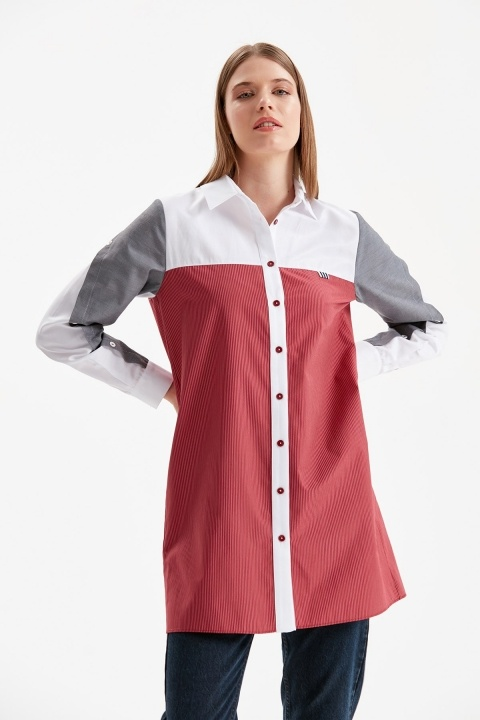 DOQUE - Kol Düğme Detaylı Gömlek Tunik-Bordo