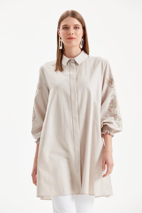 DOQUE - Kol İşleme Detaylı Gömlek Tunik-Bej