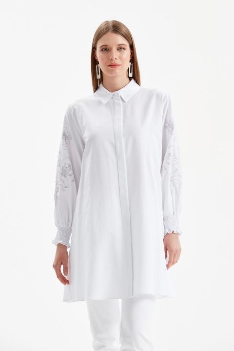 DOQUE - Kol İşleme Detaylı Gömlek Tunik-Beyaz