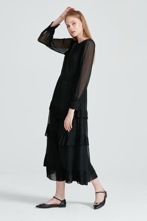 KAYRA - Kolları Tül Detaylı Şifon Elbise-Siyah