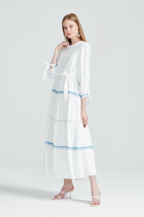 KAYRA - Kolu Bağcıklı Puantiye Detaylı Elbise -Mavi