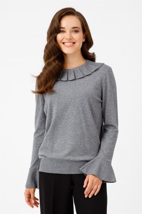 Tığ Triko - Kolu Volanlı Bluz Gri