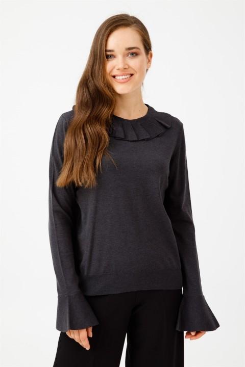 Tığ Triko - Kolu Volanlı Bluz Siyah
