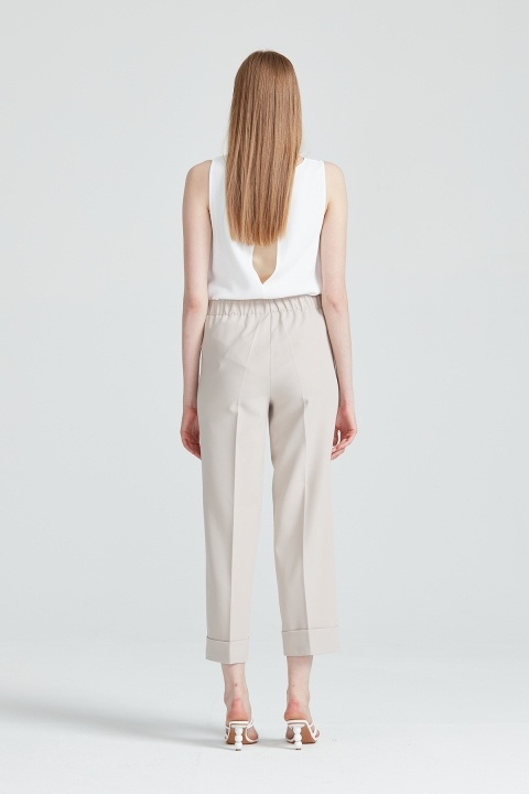Korsajı Lastik Duble Pantolon-Bej