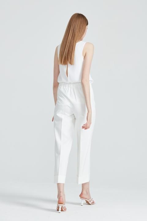 Korsajı Lastik Duble Pantolon-Ekru