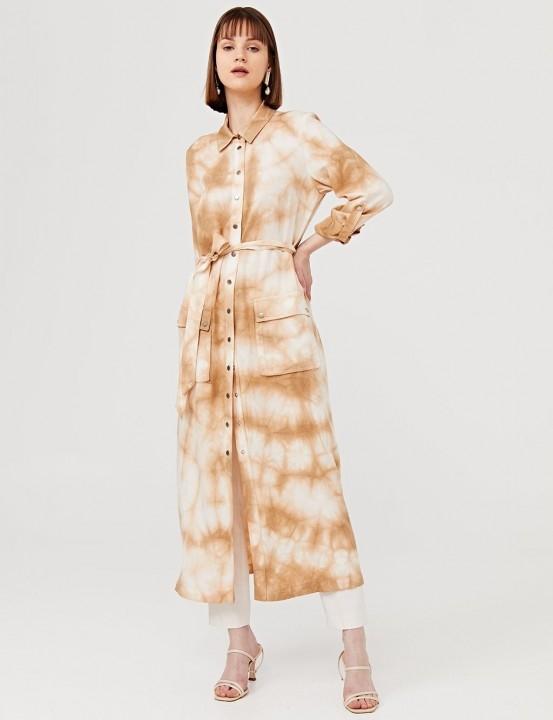 Kuşaklı Batik Desen Uzun Tunik-Camel - Thumbnail