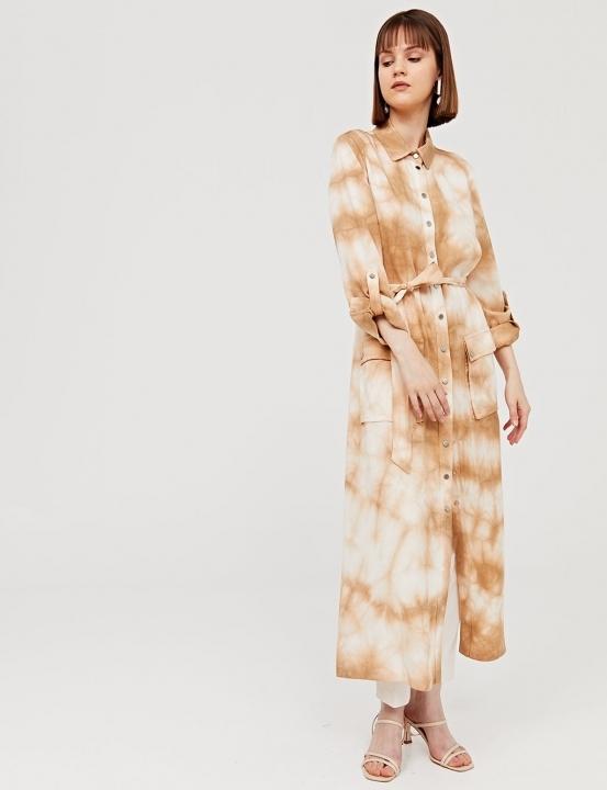 Kuşaklı Batik Desen Uzun Tunik-Camel