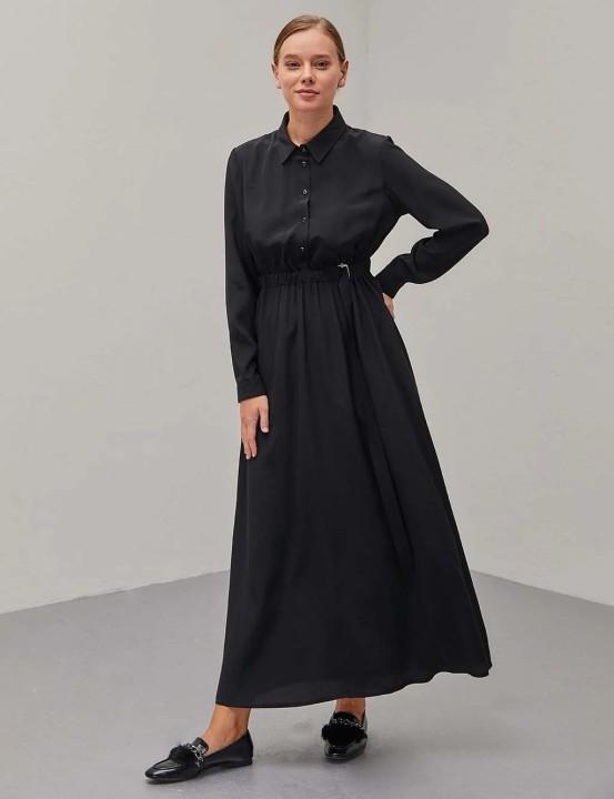 KAYRA - Kemerli Maksi Elbise-Siyah
