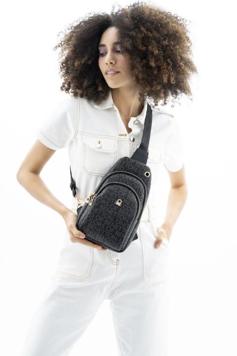 BENETTON - Monogram Çapraz Body Bag Çanta BNT_168-Siyah