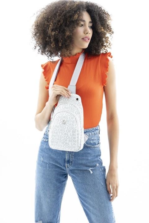 BENETTON - Monogram Çapraz Body Bag Çanta BNT_168-Beyaz-Gümüş