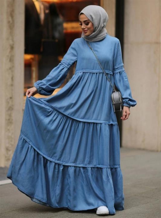 NEWAYS - NEWAYS Fırfırlı Büzgülü Elbise Açık Mavi