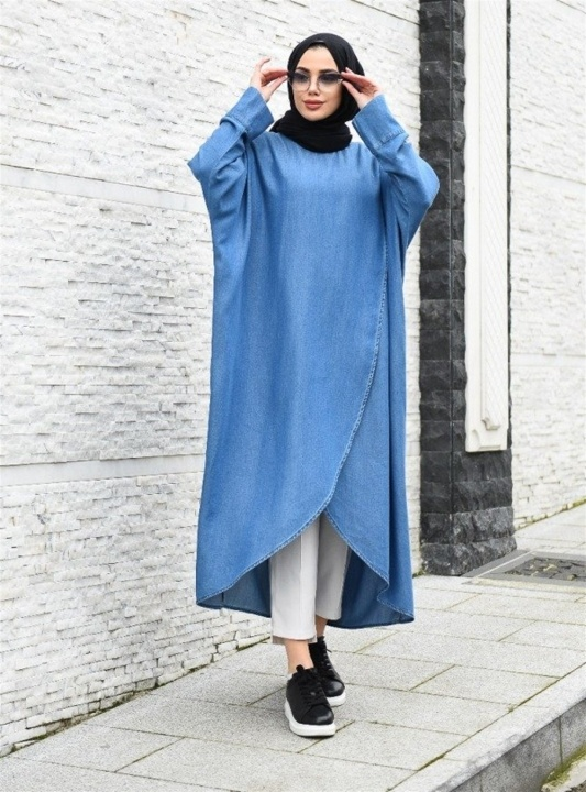 NEWAYS Tensel Salaş Tunik Açık Mavi