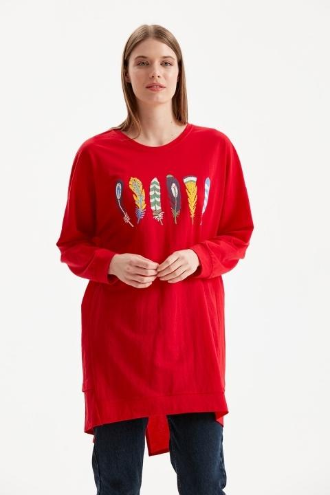 On Fashion - Önü Tüy İşlemeli Tunik-Kırmızı