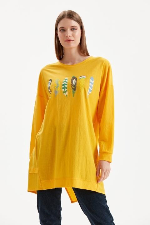 On Fashion - Önü Tüy İşlemeli Tunik-Sarı