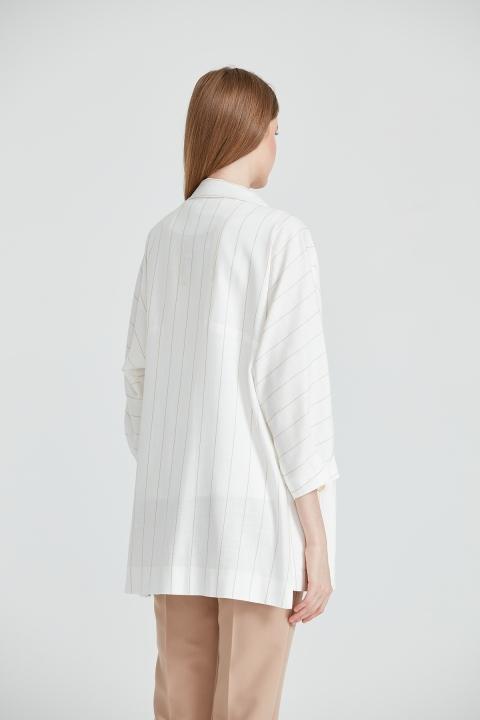 Oversize Çizgili Ceket-Bej