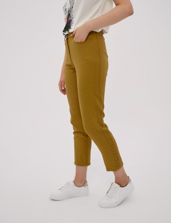 Paça Detaylı Pantolon-Oliv - Thumbnail