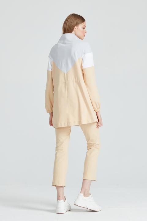 Paçası Pensli Cep Detaylı Pantolon-Bej