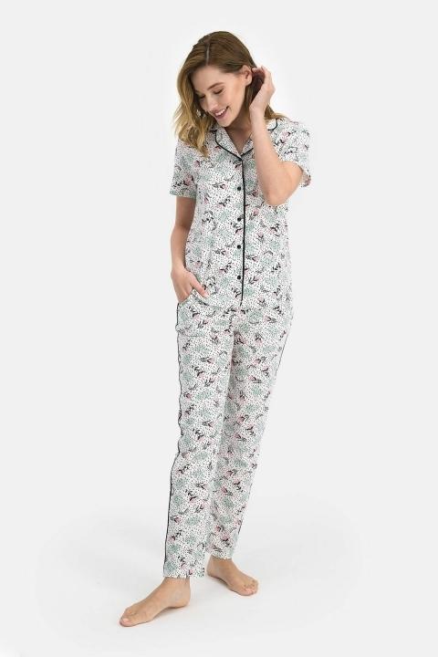PİERRE CARDİN - Pierre Cardin Flowers Kadın Gömlek Pijama Krem PC7684