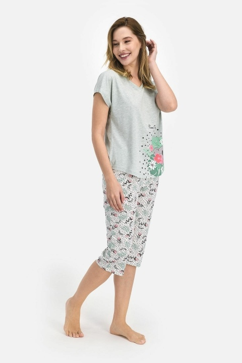 PİERRE CARDİN - Pierre Cardin Flowers Kadın Kapri Takım Yeşil PC7685