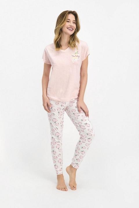 Pierre Cardin Positive Kadın Kısa Kol Pijama Takımı Toz Somon PC7688