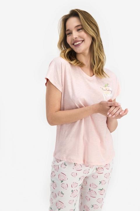 Pierre Cardin Positive Kadın Kısa Kol Pijama Takımı Toz Somon PC7688 - Thumbnail