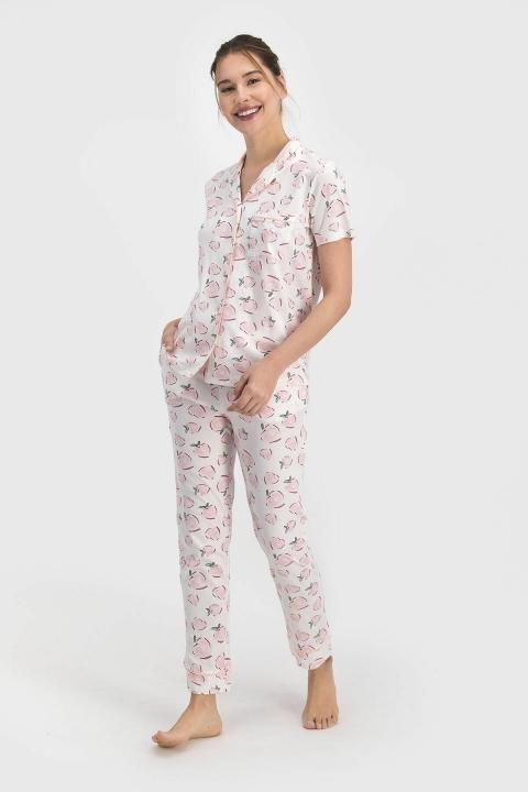 PİERRE CARDİN - Pierre Cardin Positive Kadın Gömlek Pijama Krem PC7690