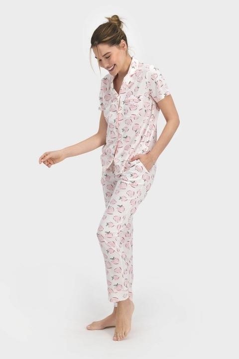 Pierre Cardin Positive Kadın Gömlek Pijama Krem PC7690 - Thumbnail